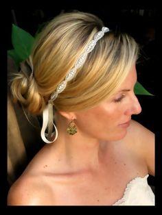 Rhinestone beaded bridal headband, bridal hair accessories, crystal headband