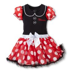 Disney� Minnie Mouse Infant Toddler Girls' Cap Sleeve Dress with Cape - Red/Black