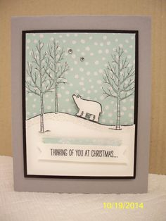 Such an adorable card CASED from Linda van Welly-Zwolle (thank you soo much, I Love this!!)!!!   The polar bear is stamped onto the hill in whisper white. Then I cut around the hill and bear using an x-acto blade to cut between his legs. The white panel is popped up over the stamped image on the dsp. Cute, cute!  Thanks for looking!