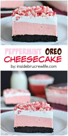 This easy no bake cheesecake has peppermint and Oreo layers. Perfect holiday treat!