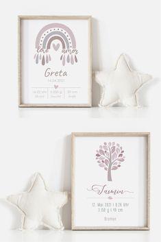 Personalisierte Babyposter mit Geburtsdaten. Baby Poster, Girl Nursery, Birth, Kids Room, Wall Decor, Drawings, Frame, Punch, Home Decor