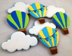 Turquoise/Yellow & Blue/Green Hot Air Balloon & Cloud Cookies