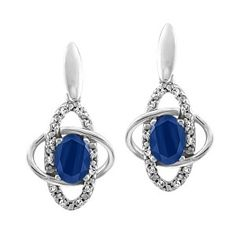 White gold ctw diamond and sapphire earrings. Sapphire Jewelry, Sapphire Earrings, Gemstone Jewelry, Diamond Jewelry, Diamond Wedding Bands, Wedding Rings, Quality Diamonds, White Gold Diamonds, Jewelry Gifts