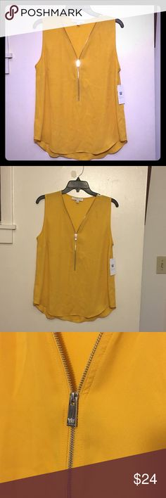 New!! Yellow blouse Mustard yellow color. Size medium purchased from Macy's. Brand new with tags. No trades. Tops Blouses