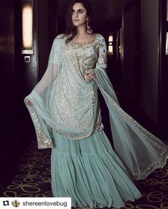 turquoise georgette straight cut kameez with matching color georgette partywear designer sharara for woman and matching embellished net dupatta in similar work. Sharara Designs, Indian Attire, Indian Ethnic Wear, Pakistani Outfits, Indian Outfits, Indian Designer Outfits, Designer Dresses, Party Kleidung, Desi Clothes