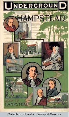 Famous faces of Hampstead -Tube poster from the London Transport Museum