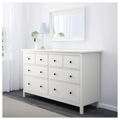 IKEA - HEMNES, dresser, white, Of course your home should be a safe place for the entire family. That's why hardware is included so that you can attach the chest of drawers to the wall. Smooth running drawers with pull-out stop. White Bedroom Furniture, Ikea Bedroom, Retro Furniture, Ikea Furniture, Bedroom Storage, Furniture Design, Furniture Stores, White Drawers Bedroom, Small White Dresser
