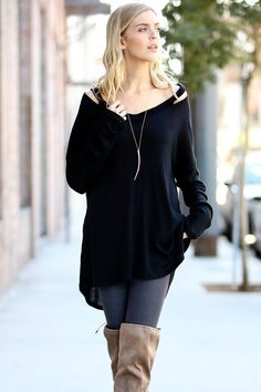 Casual Sunday Light Weight Peep Shoulder Waffle Tunic Top High Low Black S M L
