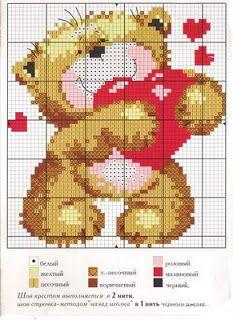 feito à mão por Irina Polushkina: Bordado cruz - esquema de ursos!