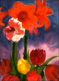 Still life, tulips (1930)    by Emil Nolde     This watercolor exemplifies the Die Brucke expressionist painter's tendency of brilliant colors