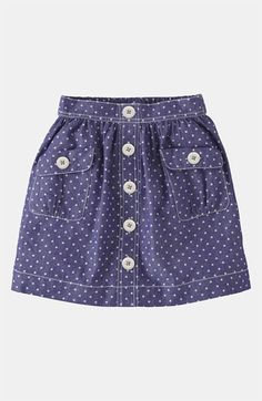 Mini Boden 'Spotty' Chambray Skirt (Little Girls & Big Girls) available at… Chambray Skirt, Sewing Kids Clothes, Girl Doll Clothes, Baby Skirt, Baby Dress, Little Girl Dresses, Girls Dresses, Skirts For Kids, Baby Girl Fashion