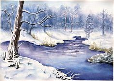 """winter Peace"" watercolor, 10""x12"" by Peggy Markham, composition by Deb Watson"