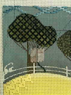 Day Two found me still bumbling around with the background, but I did start work on the border across the bottom. The green str...