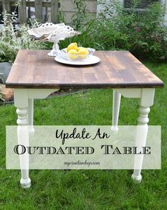 Have an outdated table that you don't like the finish of? Change it. Update it with a coat of paint and stain. mycreativedays.com
