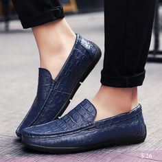 US $26 Genuine Leather Crocodile Skin Men Loafers High Quality Driving Shiny Swag Soft Comfy Formal Driving Loafers Black Blue Brown