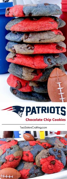 New England Patriots Chocolate Chip Cookies - a classic cookie recipe suited up in team colors. Super easy to make and it will definitely wow your family and friends as a Football Game Day dessert or a Super Bowl Party Food. Go Patriots! Pin this fun Super Bowl treat for later and follow us for more Super Bowl Food Ideas. #NewEnglandPatriots #Patriots #GameDayTreat #SuperBowl #SuperBowlParty #NewEnglandPatriotsFood