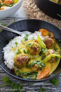 Thai Yellow Curry Turkey Meatballs by fashionablefoods #Meatballs #Turkey #Curry #Thai