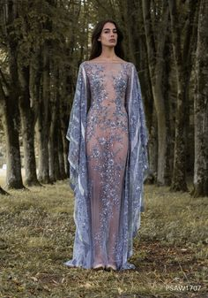 PSAW1707 - Caped column gown with art nouveau inspired embroideries in tones of lavender and silver