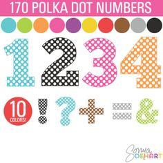 Clip Art Polka Dot Numbers and Symbols