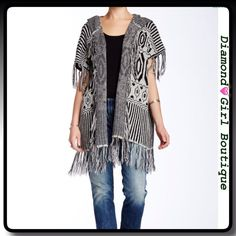 """Cecico Short Sleeved Hooded Cardigan Great looking silver and black patterned cardigan features lots of fringe detail and a hoodie, approx length:37"""" Cecico Sweaters Cardigans"""