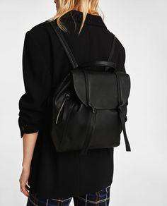 ZARA - MUJER - MOCHILA MONOCOLOR Monochrome, Zara Bags, Cute Handbags, City Bag, Zara United States, Zara Women, Girly Girl, Leather Backpack, Backpacks