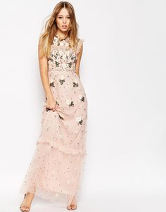 Image 1 of Needle & Thread Floral Frill Embellished Maxi Dress