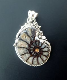 Ancient Ammonite Pendant w Sea Opal Glass Accent /& Various Agate Beads w Silver Plated Filigree Beads Necklace OOAK