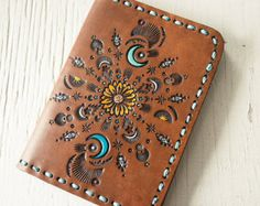 Leather Passport Cover - Sunflower Moon - Southwestern Inspired Passport Wallet - Turquoise Crescent Moon - Made to Order - Travel Gift Leather Passport Wallet, Handmade Leather Wallet, Diy Leather Projects, Leather Art, Passport Cover, Leather Working, Bunt, Hand Stamped, Leather Pattern