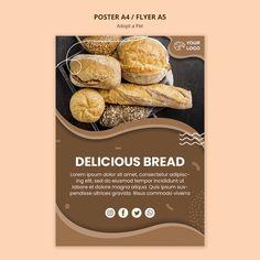 Folleto para negocio de cocina de pan | Free Psd #Freepik #freepsd #flyer Macarons, Lorem Ipsum, Bamboo, Bread, Food, Sale Poster, Bakery Shops, Poster Templates, Brochures