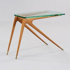Carlo di Carli Attributed; Maple, Glass and Brass Side Table, 1950s.