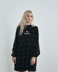 Lazy Oaf Black Puppies and Kittens Sweater Dress