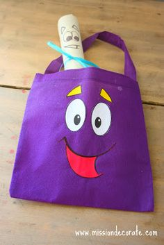 Mission Decorate: Dora Backpack, Map & More Has template for backpack's eyes, mouth, eyebrows