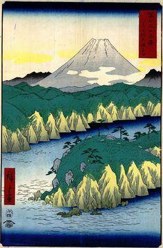 Hiroshige - Thirty-six Views of Mount Fuji 1856 Series 21 Lake at Hakone 神奈川県箱根町 Hakone-machi, Kanagawa-ken