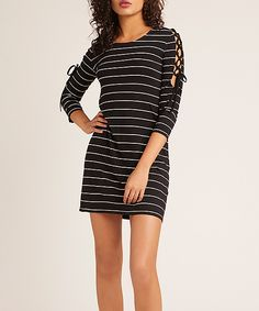 BB Dakota Black Stripe Here Kitty Kitty Cutout Dress - Women Here Kitty Kitty, Cutout Dress, Black Stripes, Striped Dress, Cold Shoulder Dress, Lace Up, Bb, High Point, Dresses