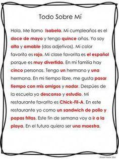 Spanish Speaking Presentation or Writing Assignment Spanish Phrases, Spanish Vocabulary, Spanish Words, How To Speak Spanish, Spanish 1, Spanish Pictures, Spanish Alphabet, Spanish Design, Vocabulary Activities