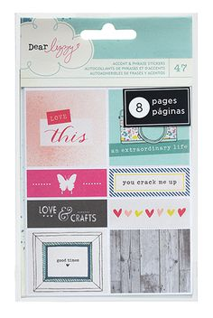 American Crafts - Dear Lizzy Polka Dot Party Collection - Perforated Sticker Book - Accents and Phrases at Scrapbook.com