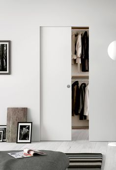 Clean, Contemporary, Minimalist . Eclisse Syntesis® Line Single as a wardrobe door.  #pocketdoor #interior #interiordesign