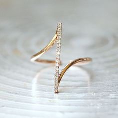 Pave Rose Gold Vertical Bar Ring Sterling Silver from kellinsilver.com #ringsjewelry