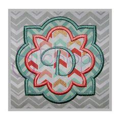 Quatrefoil Flower Applique Frame  2 Fabric by Stitchtopia.com