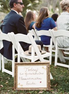 embroidered sign telling guests that families become one today, so sit on either side Ruby Wedding, Wedding Pins, Dream Wedding, Wedding Stuff, Wedding Ideas, Wedding Signage, Wedding Reception, Wedding Coordinator, Wedding Planner
