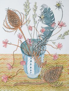 Rye Pot and Teasels - watercolour drawing by Angie Lewin