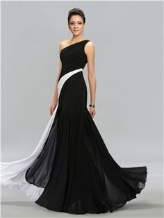 ericdress.com offers high quality  Terrific Contrast Color Ruched One-Shoulder Floor-Length Evening Dress Evening Dresses 2015 unit price of $ 121.59.