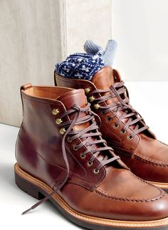 NOV '15 Style Guide: J.Crew men's Kenton leather pacer boots and diamond cross mountain socks.