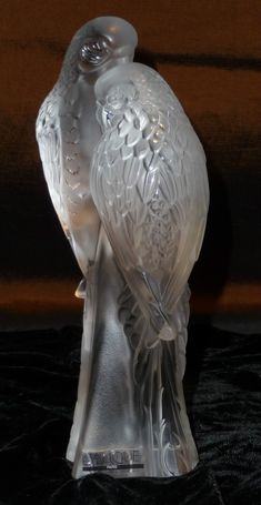 Lalique crystal parakeets