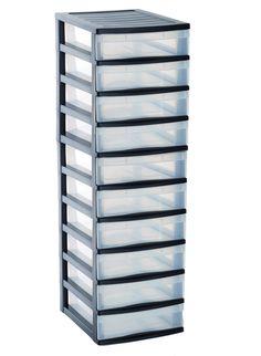 Sundis 4165001 Optimo Tour de Rangement avec 10 Petites Tiroirs Polypropylène Noir/Transparent 38 x 30 x 100 cm: Amazon.fr: Cuisine & Maison