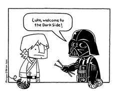 Knitting = the Dark Side... OMG... A Star Wars meme related to Crochet/Knitting!!!!!