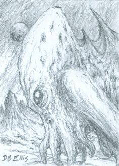 CTHULHU NO 22 original sci fi art, ACEO, lovecraft, cthulhu mythos, horror