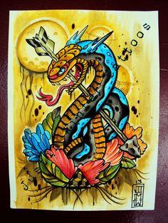 Traditional Snake Tattoo flash by Justin Winter Tacoma, Wa