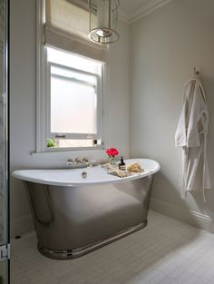 Designed by @summerwilliamsdesign this glorious bathroom is a real sanctuary of calm and relaxation, showcasing our iconic Usk Bath tub in a polished iron finish Architect: @icon_architects Steam Showers Bathroom, Bathroom Sets, Small Bathroom, Master Bathroom, Bathroom Grey, Bathroom Photos, Boho Bathroom, Bathroom Layout, Bathroom Fixtures