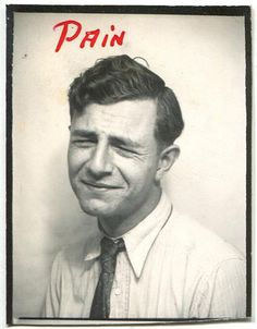 Young man in photobooth 'pain' handwritten by Vintage Photos & Collectables, via Flickr
